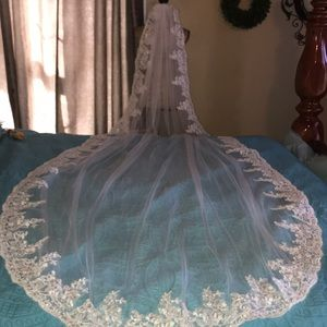 New Beautiful Xlong lace edged cathedral veil